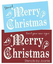 STENCIL LG Vintage font Merry Christmas Seasonal Holiday Shabby Prim Art Signs