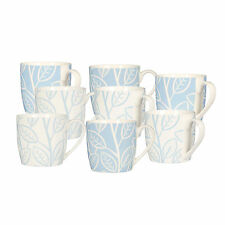 Set Of 8 Blue & White Beech Porcelain Tea Coffee Beverage Drinks Cups Mugs