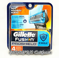 Gillette Fusion PROSHIELD CHILL Refill 4 Cartridges*Original Package* #010A