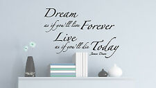 JAMES DEAN FAMOUS SAYING WALL art DECAL QUOTE bedroom livingroom dream forever
