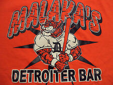 "MALAKA""S DETROITER BAR t shirt sz L detroit tigers baseball bat"