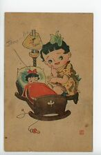 Early-Anime Postcard Vintage Japanese Cartoon History Girl w Cute Doll ca. 1945