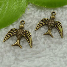 Free Ship 160 pcs bronze plated swallow charms 22x20mm #2526