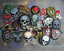 Set of 24 RANDOM Skull themed Iron on patches -  Biker punk rock jacket metal