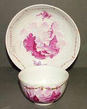 18th siècle wallendorf, allemand en porcelaine peint à la main côtelé tasse & soucoupe