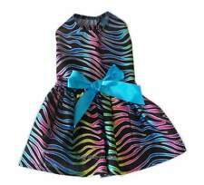 Multi Colored Zebra little Dog Dress Apparel Pet Clothes Clothing Size XXXS