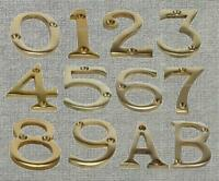 Brass Screw In House Door Number Numeric Digits Plate Plaque Gold Sign - 2 Inch