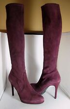 sz 8.5 NEW STUART WEITZMAN Wine Red BORDEAUX Suede Giveitup Knee High Boots