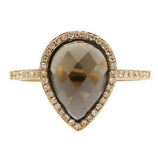 FINE 14K ROSE YELLOW GOLD DIAMOND & PEAR SMOKY TOPAZ COCKTAIL ENGAGEMENT RING