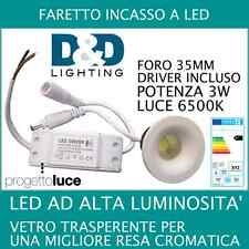 FARETTO FARO AD INCASSO LED 3W LUCE BIANCA FREDDA  1 LED ALTA LUMINOSITA' LED 3W