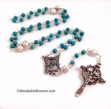 Rosary Beads Virgin Mary Turquoise Magnesite  Nail Crucifix Unbreakable Rosaries