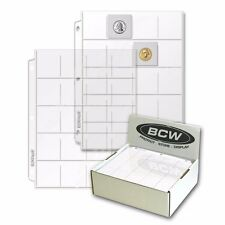 "BCW Vinyl 20 Pocket Binder Pages for 2"" x 2"" Coin Flips or Photo Slides Qty: 20"