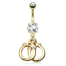 GOLDEN Jeweled HAND CUFF Dangle BELLY Button NAVEL Bar RINGS Piercing Jewelry
