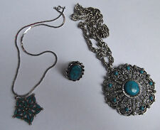 Vtg Faux Turquoise Silvertone Ring Necklace Zuni Petit Point Costume Jewelry Lot
