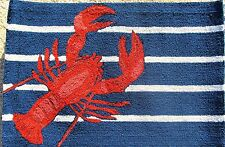 "Rug/Door Mat Hooked Out door Home Decor ""Lobster on Stripes"""