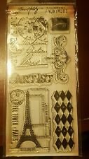 Tim-Holtz-Visual-Artistry-Cling-Stamp-FRENCH MARKET Eiffel tower Paris theme