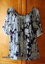 NEW Plus 1X Blue Light Blue Floral Peasant Casual Boho Blouse Shirt Top NWT