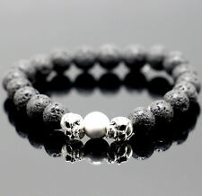 Mens Unisex Black Lava Rock Cool Skull Head Bead Elastic Bracelet Jewelry Gift