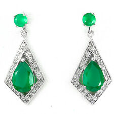 ELEGANT NATURAL 12x8mm AAA RICH GREEN AVENTURINE-WHITE TOPAZ 925 SILVER EARRINGS
