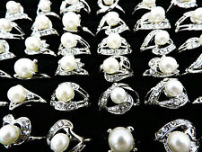 Wholesale Fashion Jewelry Lots 10pcs Women's Pearl Rhinestone Silver Plated Ring