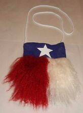 Red White & Blue Tibetan Mongolian Curly Lamb Fur & Suede Purse Shoulder Bag