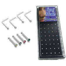 Nose Stud Ring 18G L shape & Straight Bone with Clear Colorful Gems 40pc