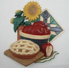 Home Interiors Wall Hanging Kitchen Plaque Apple Pie Sunflowers Quilt Tile 1997
