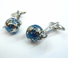 Blue Spinning Globe Cufflinks (It Really Works!) Gemelos 100 for 7 items