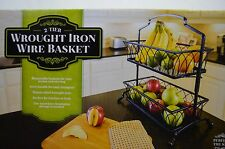 2-Tier Wrought Iron Wire Basket Removable Handcrafted Kitchen Bathroom Tray