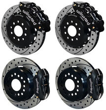 """WILWOOD DISC BRAKE KIT,2005-NEWER FORD MUSTANG,13""""/12"""" DRILLED,BLACK CALIPERS"""