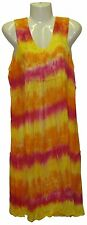 S M L XL Sleeveless Tye Dye India Dress Horizontal Stripes Yellow Red Ketchup