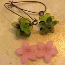 THIRTY Lucite Acrylic 5 Petal Star Flower Cap Bead 17mm Frosted Pastel Pink