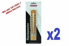 2x Wooden Wall Thermometer Indoor / Outdoor Use Small Lightweight Handy Size
