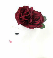 Deep Red Burgundy Rose Flower Pillbox Hat Fascinator 1950s Rockabilly Vtg 564