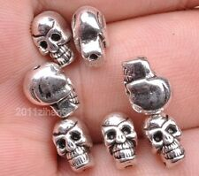 wholesale 10pcs Tibetan Silver skull head bead Charms spacer beads 10mm