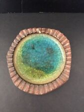 Robert Maxwell Pottery Ash Tray Mid Century Brutalist Blue Green Crackle Glass