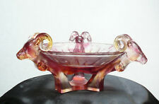 Chinese Pink Liuli Crystal Glass  Pate-de-verre  3 Ram Heads Plate vs668