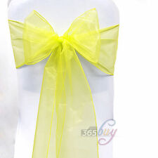 Organza Chairs Cover Sash Bow Wedding Party Reception Banquet Yellow Decor #04
