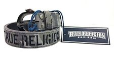 NWT! TRUE RELIGION MEN'S GREY CAMO TR EMBROIDERY & LEATHER BELT SZ 30  $79 MSRP