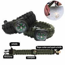 C6 US Paracord Survival Bracelet Compass Scraper Whistle Gear Kits Camping Tools