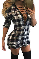 Sexy Lace-up Front Plaid Shirt Bodycon Bandage Casual Party Club Dress Top