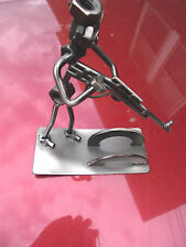 """Handcrafted -Recycled- Metal  nuts """"Soldier w/ Gun"""" Sculpture"""