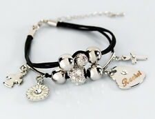 RACHEL Leather Name Bracelet 18ct White Gold Plated Christmas Birthday Gifts