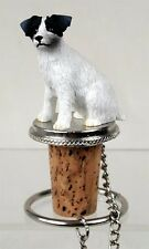 Jack Russell Terrier Black Rough Dog Painted Resin Figurine Wine Bottle Stopper