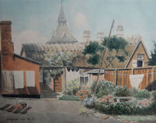 Antique watercolor. Scenery from an old fishing village 1907. Monogrammed