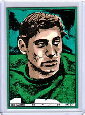 2017 Joe Namath Jets Legend Football 1/1 ACEO Art Green Sketch Card By: Q