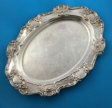 "Towle Old Master 17"" Waiter Oval Tray Plate Silverplate Silver Embossed 4071"