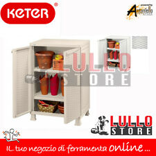 KETER ARMADIO ARMADIETTO MOBILE BOX IN RESINA 2 ANTE RATTAN  65x45x99H BIANCO