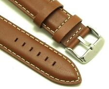 20mm Brown Leather White Stitching Replacement Watch Strap - Seiko 20mm Lugs