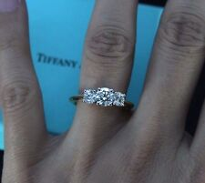 $17,800 Tiffany F VVS2 Platinum 18K Gold 1.31ct 3 Round Diamond Engagement Ring